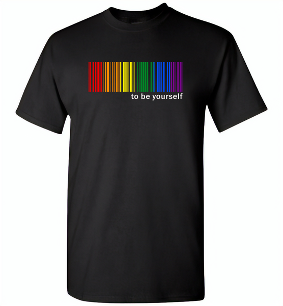 LGBT Barcode to be yourself rainbow gay pride - Gildan Short Sleeve T-Shirt