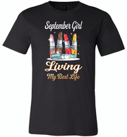 September girl living my best life lipstick birthday - Canvas Unisex USA Shirt