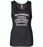 Wyoming Nurses Never Fold Play Cards - Womens Jersey Tank