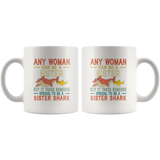 Someone special to be a sister shark vintage gift white coffee mugs