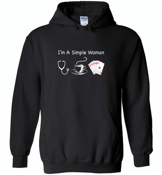 I'm A Simple Woman Who Loves Nurse Coffee and Play Cards - Gildan Heavy Blend Hoodie