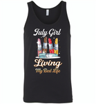 July girl living my best life lipstick birthday - Canvas Unisex Tank