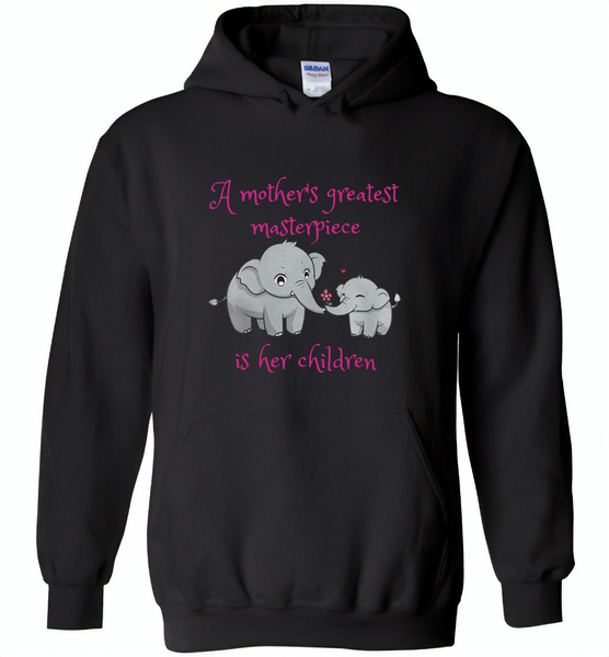A mother's greatest masterpiece in her children elephant mom and baby - Gildan Heavy Blend Hoodie