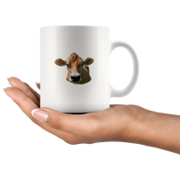 Cow rock paper scissors throat punch I win gift white coffee mug