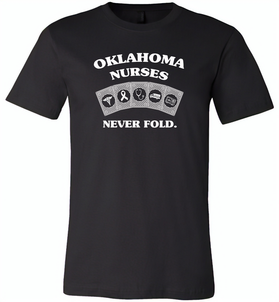 Oklahoma Nurses Never Fold Play Cards - Canvas Unisex USA Shirt