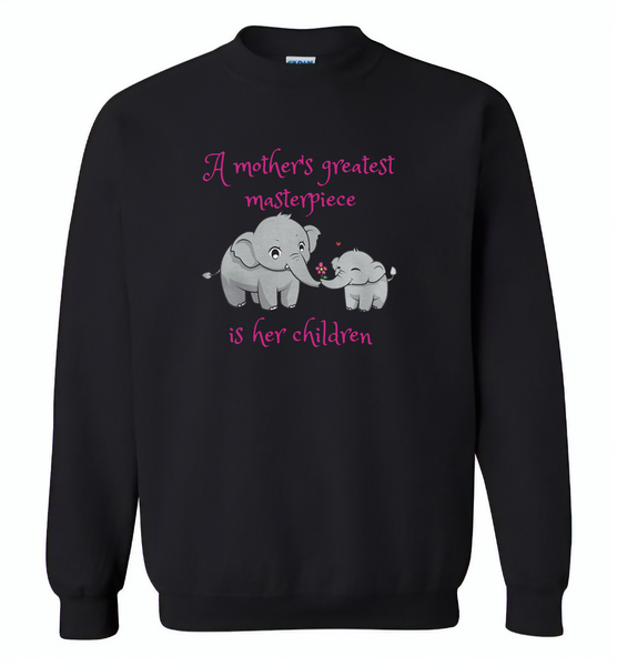 A mother's greatest masterpiece in her children elephant mom and baby - Gildan Crewneck Sweatshirt