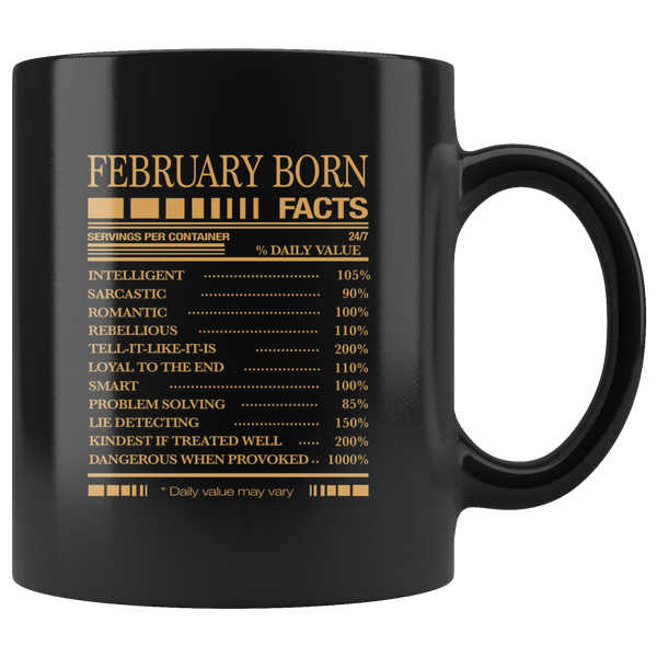 February born facts servings per container, born in February, birthday gift coffee mug