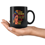 June woman three sides quiet, sweet, funny, crazy, birthday black gift coffee mug