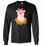 Sunflowers pig - Gildan Long Sleeve T-Shirt