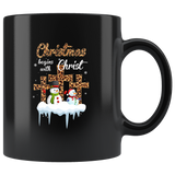 Christmas Begins With Christ Leopard Cross Snowman Black Coffee Mug