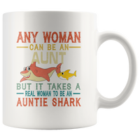 Real woman to be an Auntie shark gift coffee mugs vintage