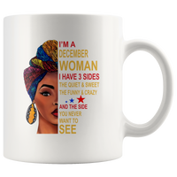 December woman three sides quiet, sweet, funny, crazy, birthday white gift coffee mugs