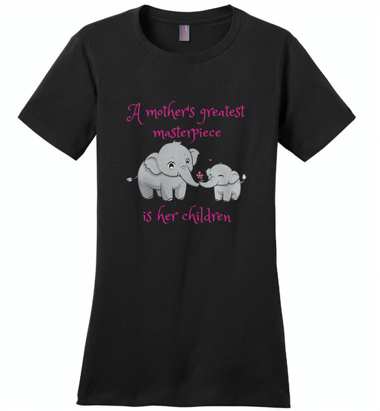 A mother's greatest masterpiece in her children elephant mom and baby - Distric Made Ladies Perfect Weigh Tee