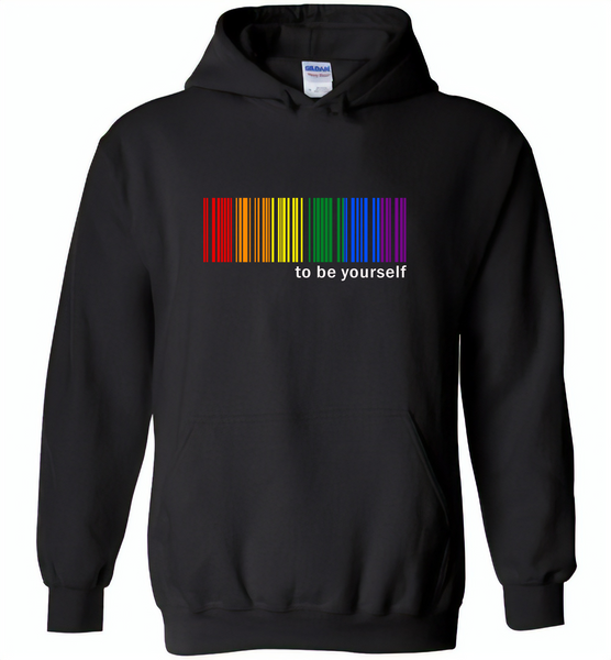 LGBT Barcode to be yourself rainbow gay pride - Gildan Heavy Blend Hoodie