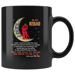 Wife To my husband I love you to the moon and back black gift coffee mug