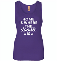 Home is where the doodle is paws dog - Womens Jersey Tank