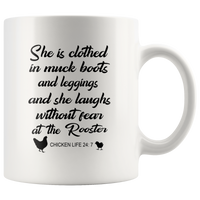 She clothed in muck boots leggings, laughs without fear the Rooster mother chicken life black gift coffee mug