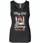 May girl living my best life lipstick birthday - Womens Jersey Tank