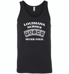 Louisiana Nurses Never Fold Play Cards - Canvas Unisex Tank