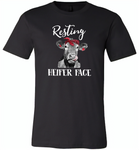 Resting heifer face cow - Canvas Unisex USA Shirt