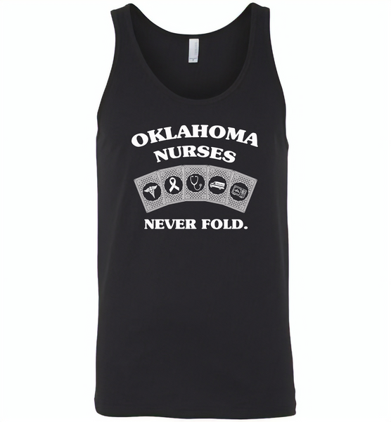 Oklahoma Nurses Never Fold Play Cards - Canvas Unisex Tank