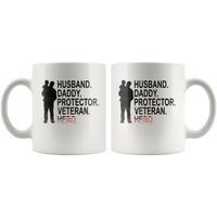 Husband daddy protector veteran hero, father's day gift, papa, dad white coffee mug