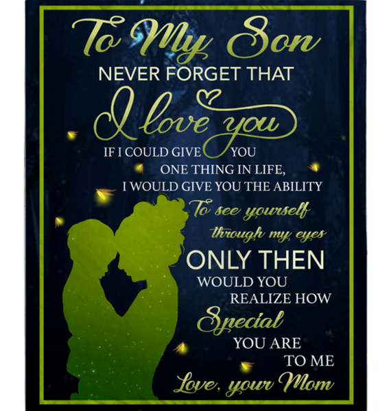 Personalized To My Son Never Forget That I Love You Blankets Gift From Mom Black Plush Fleece Blanket