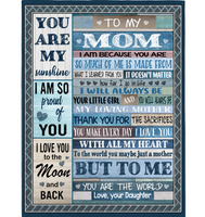 Personalized To My Mom I Love You My Sunshine World Mothers Day Gift Ideas From Daughter Wooden Fleece Blanket