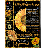 Personalized To My Mother In Law You Are Appreciated I Love You Mothers Day Gift From Daughter In Law Sunflower Funny Black Fleece Blanket