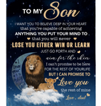Personalized To My Son I Want You To Believe Deep In Your Heart Love Blankets Dad Gift For Son Lion Black Fleece Blanket