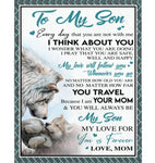 Personalized To My Son Mom Love You Forever Wolf Gift From Mom To Son White Fleece Blanket