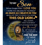 Personalized To My Son Never forget I Love You Blanket Gift From Dad Lion Black Fleece Blanket