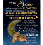 Personalized To My Son Never forget I Love You Blanket Gift From Mom Lion Black Fleece Blanket