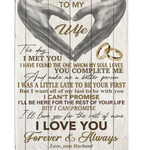 Personalized To My Wife You Make Me Better Person I Love You Forever Always Hand Heart Gift From Husband Fleece Blanket