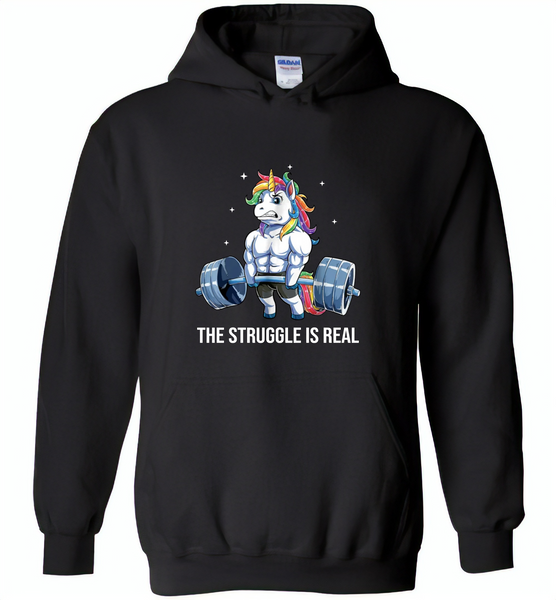 Unicorn Weightlifting Fitness Gym Deadlift Rainbow, The Struggle Is Real - Gildan Heavy Blend Hoodie