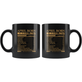 April born facts servings per container, born in April, black birthday gift coffee mug