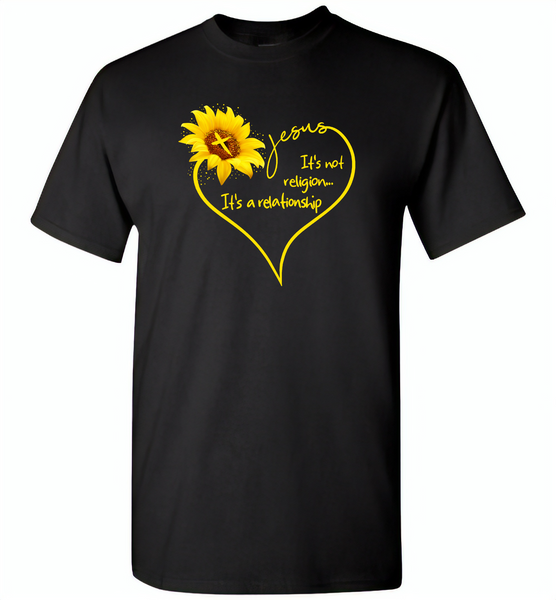 Sunflower heart Jesus it's not religion it's a relationship - Gildan Short Sleeve T-Shirt
