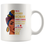 November woman three sides quiet, sweet, funny, crazy, birthday white gift coffee mugs