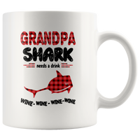 Grandpa shark needs a drink wine father's day gift white coffee mug