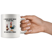 A Woman cannot survive on wine alone she also needs a chicken white coffee mugs Hei hei