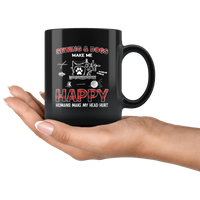 Sewing and dogs make me happy humans make my head hurt black coffee mug