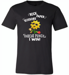 Rock Scissors Paper Throat Punch I Win, Sunflower Funny - Canvas Unisex USA Shirt