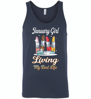 January girl living my best life lipstick birthday - Canvas Unisex Tank