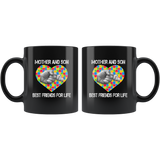 Autism mother and son best friend for life, mother's day black gift coffee mugs