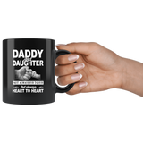 Daddy and daughter not always eye to eye but always heart to heart, father's day gift black coffee mug