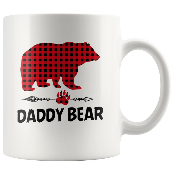 Daddy Bear Red Plaid Dad Fathers Day Gift White Coffee Mug