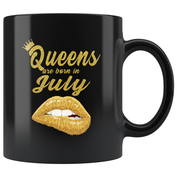 Queens are born in July, lip, birthday black gift coffee mug