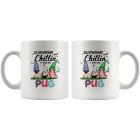 Quarantinin And Chillin With My Pug Quarantine Gnome Shortage Toilet Paper Funny Gift For Dog Lover Women White Coffee Mug