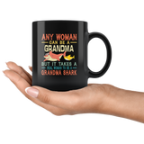 Any woman can be a grandma but it takes a real woman to be a grandma shark gift vintage funny black coffee mug