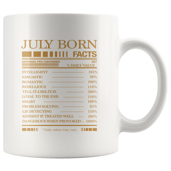 July born facts servings per container, born in July, birthday gift white coffee mugs